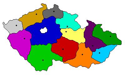Peta Ceko dengan warna-warni berbeda per provinsi