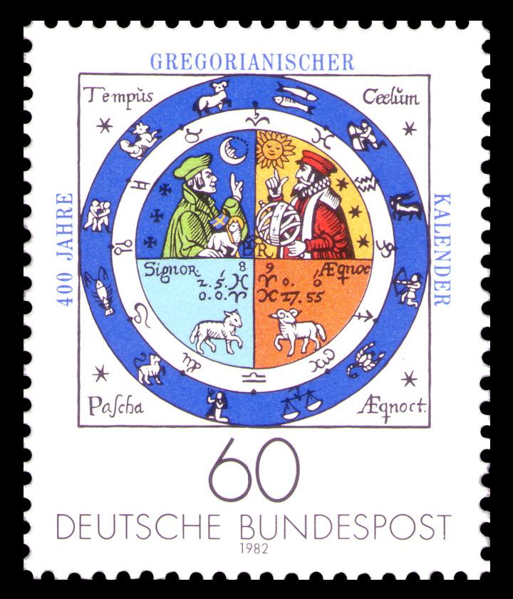 (Изображение немецкой почтовой марки с символичным календарём)