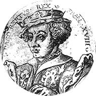 Den hellige Dagobert II på en medaljong av Solis Virgilius l'Ancien (1514-62)