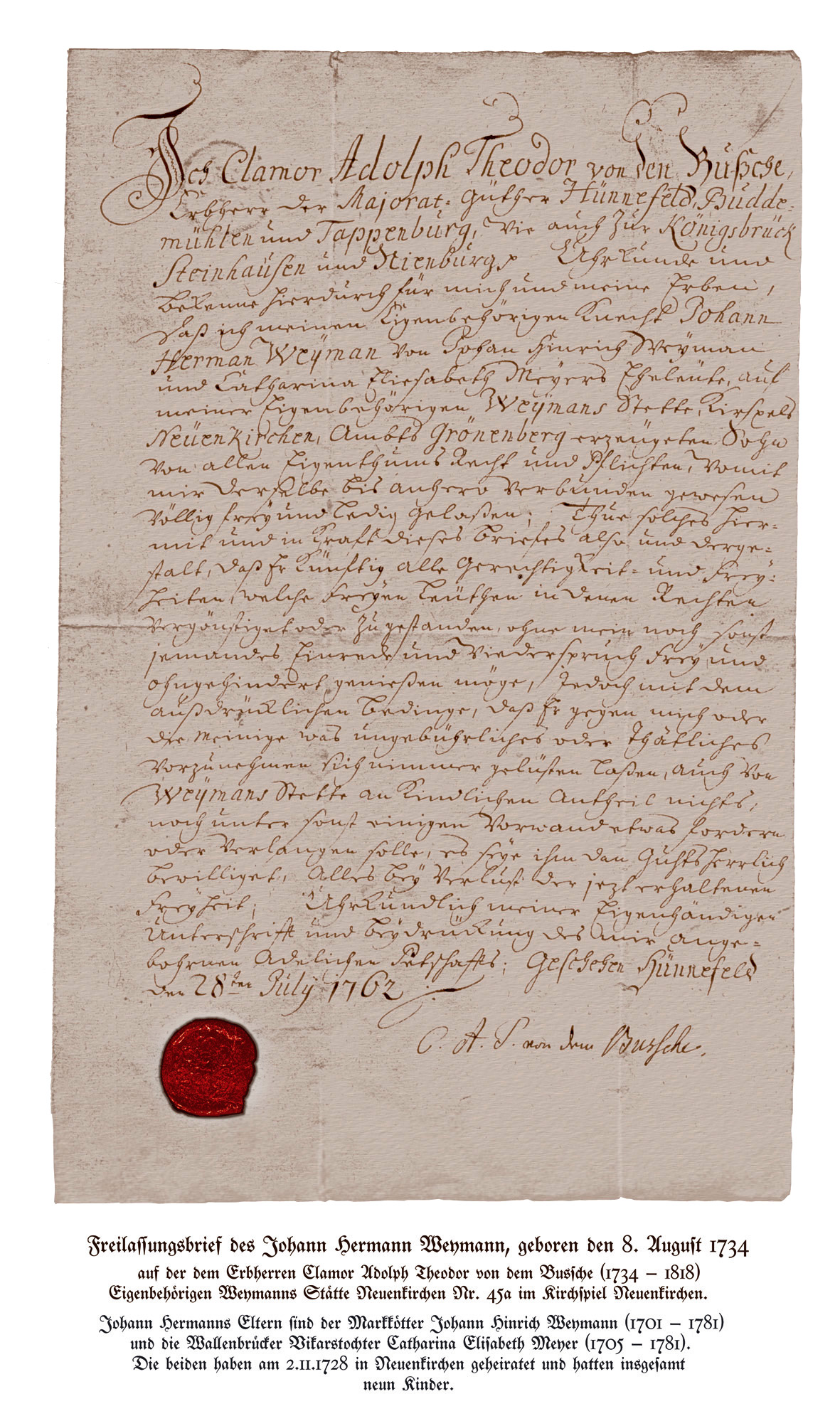 End of serfdom: a German Freilassungsbrief (Letter for the End of a serfdom) from 1762.