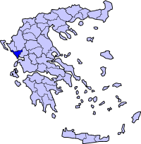 Location of Preveza Prefecture in Greece