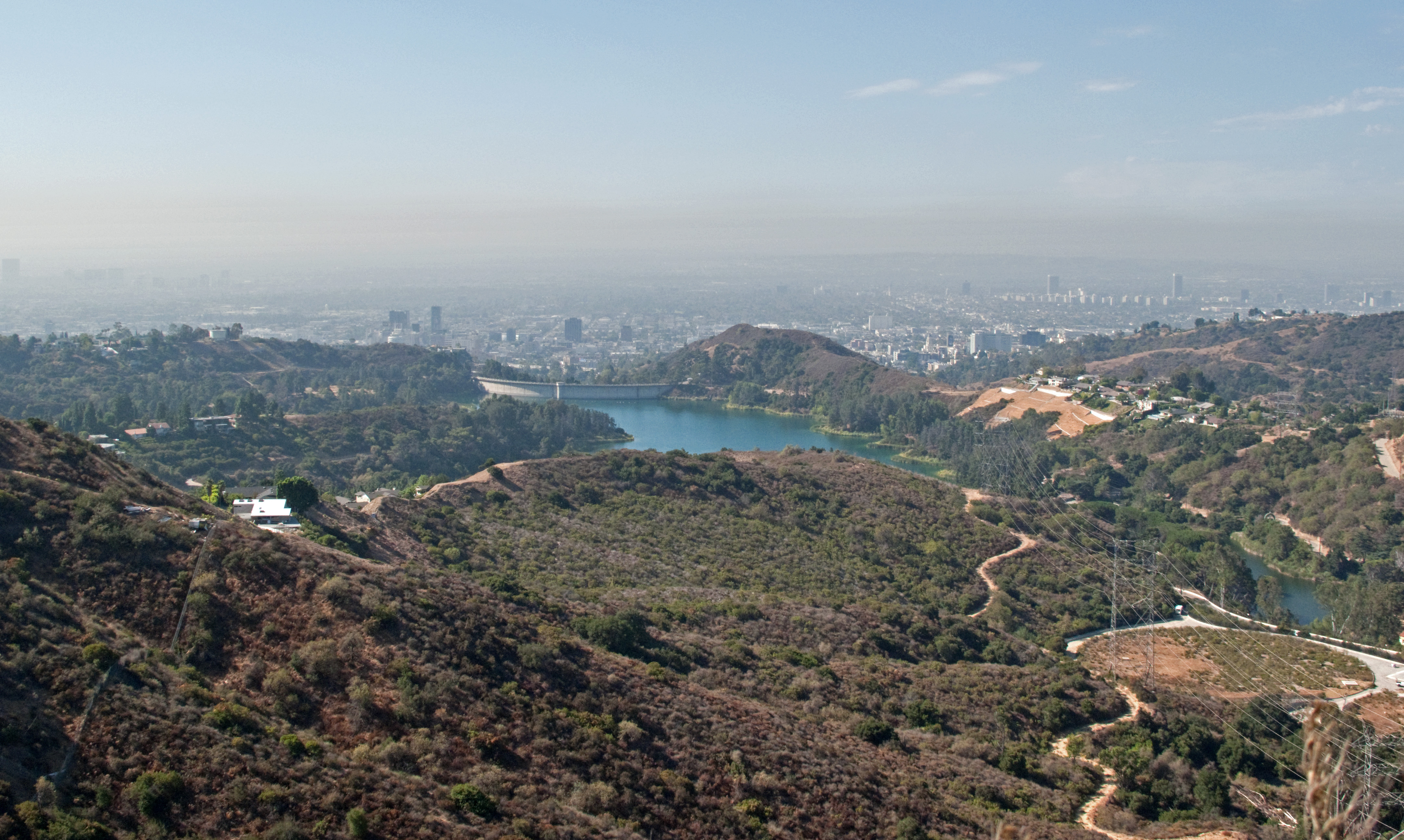 File Hollywood Reservoir From Burbank Peak And Smog Jpg