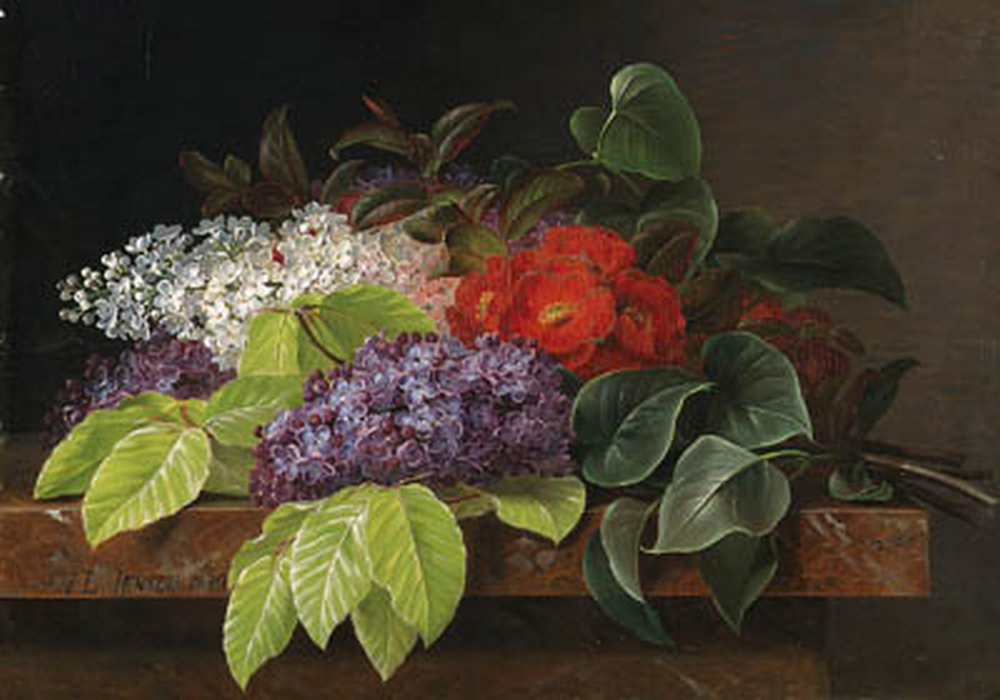 I.L. Jensen - Hvide og violette liljer, kamelia og bøgeblade på en marmorhylde - 1840.png