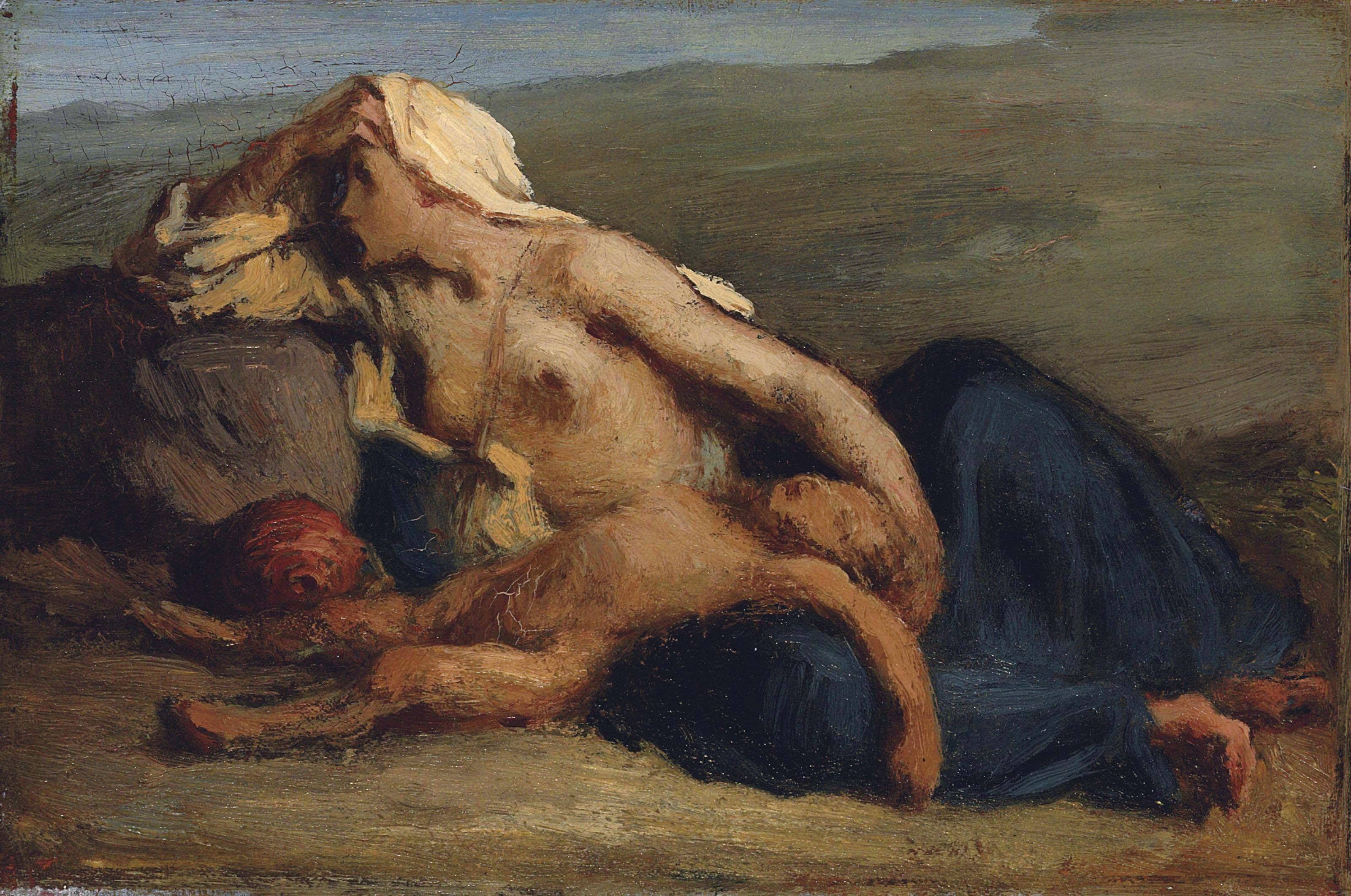 Jean-François Millet, Agar et Ismaël, Huile sur toile, 17 cm / 25,4 cm. ENviron 1840