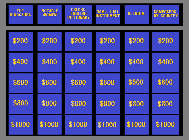 Jeopardy gameboard