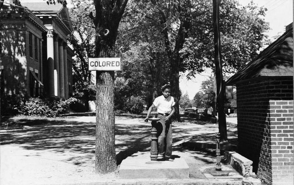 Jim Crow Drinking Fountain county courthouse lawn, Halifax, North Carolina, 1938