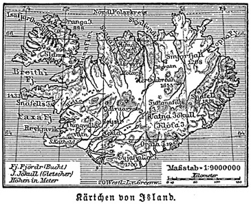 Karte von Island um 1888