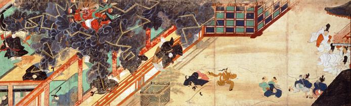 『北野天神縁起絵巻』に描かれた清涼殿落雷事件/wikipediaより引用