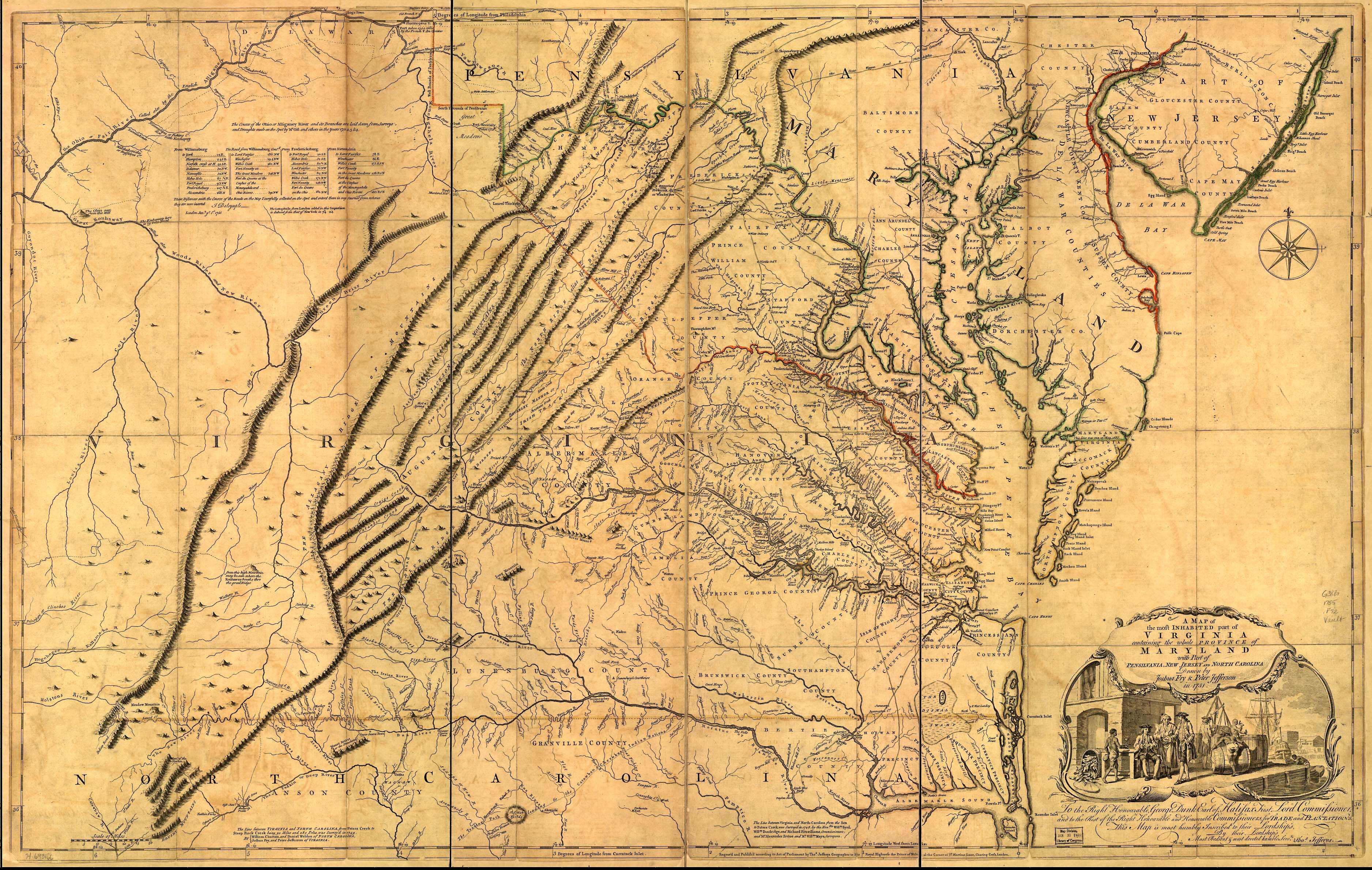 Tricities region shown on the Fry-Jefferson map (1752)