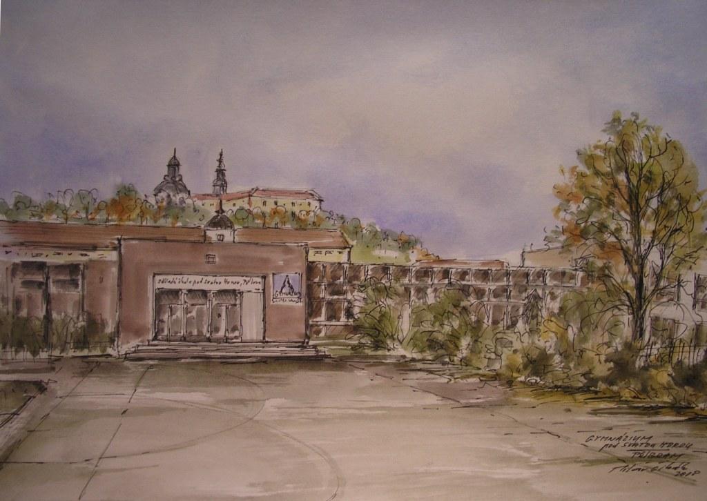 Soubor Kresba Budovy Gymnazia Pod Svatou Horou Jpg Wikipedie