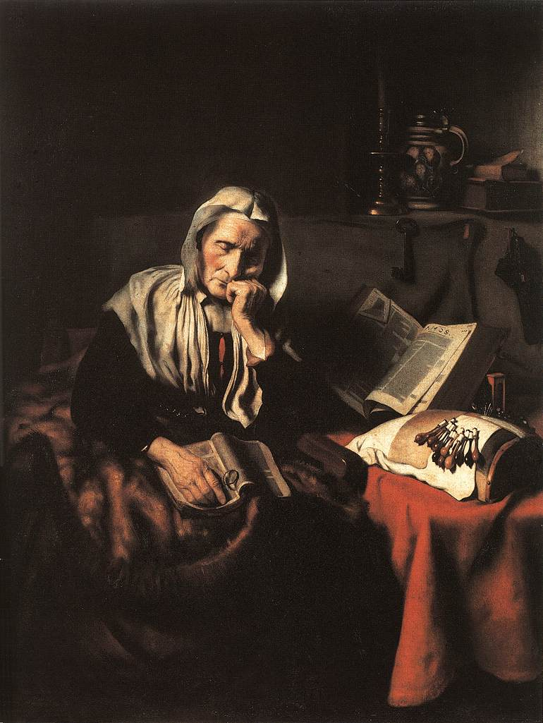 Old Woman Dozing by Nicolaes Maes (1656). Royal Museums of Fine Arts, Brussels