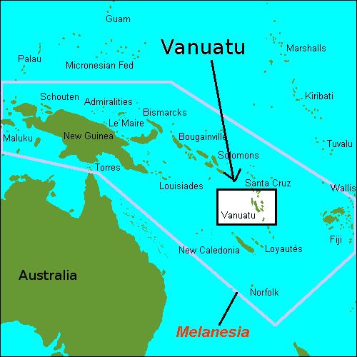 Map Of Vanuatu And Australia  London Map