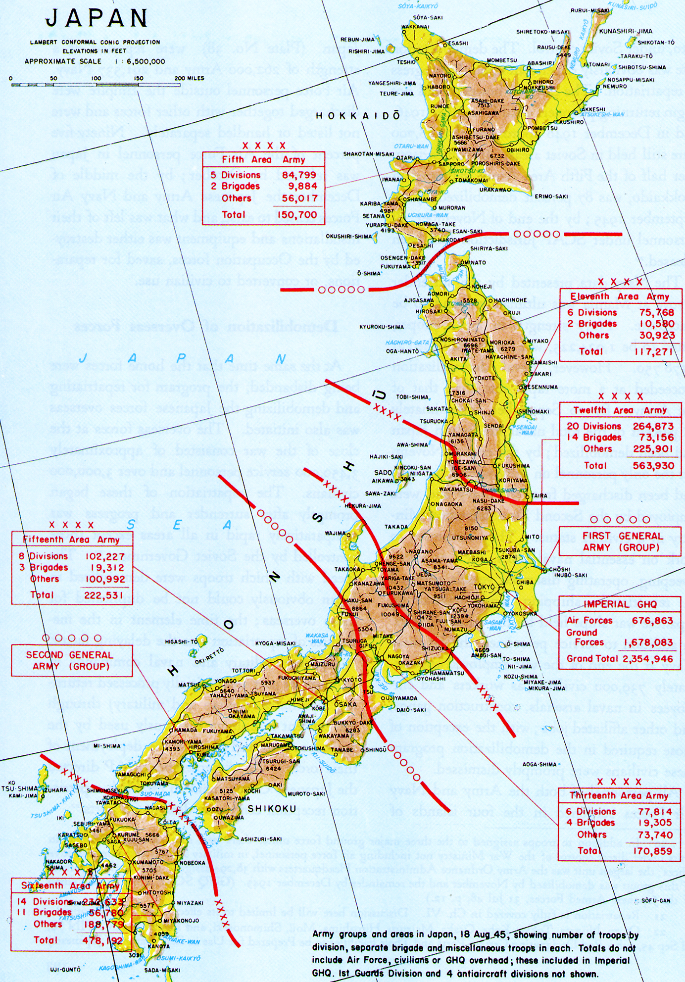 FileMap of Japanese Army Ground Forces in the home islands August
