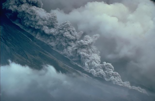 Small pyroclastic flow at Mayon volcano in the Philippines on September 23, 1984. Chris Newhall, (U.S. Geological Survey)