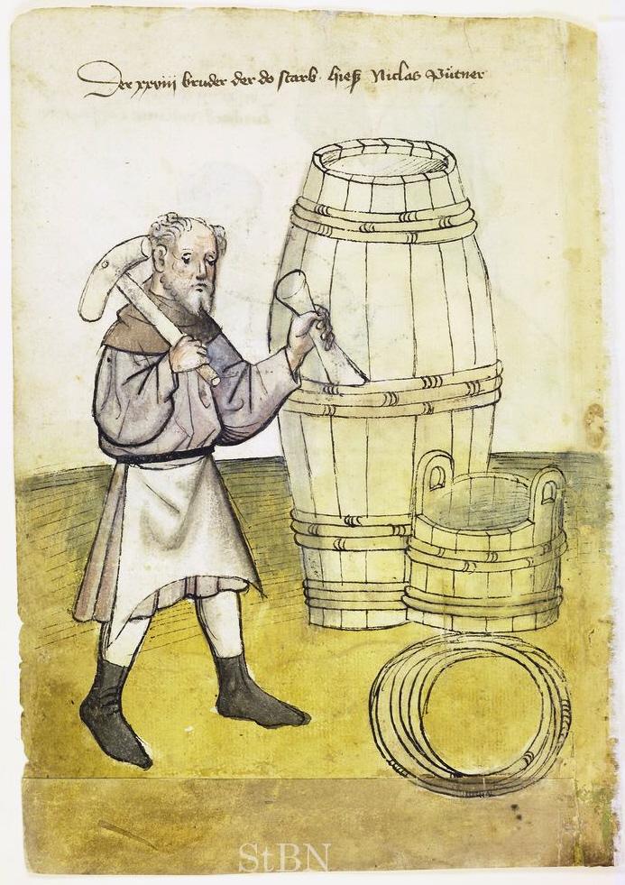 Ein Büttner im Hausbuch der Mendelschen Zwölfbrüderstiftung zu Nürnberg (Stadtbibliothek Nürnberg, Amb. 317.2°, fol. 11r).