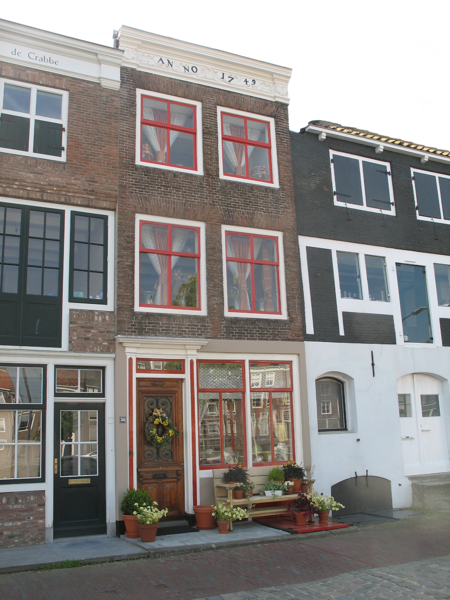 Huis met rechte gevel in de lijst op een banderolle met for Lijst inrichting huis