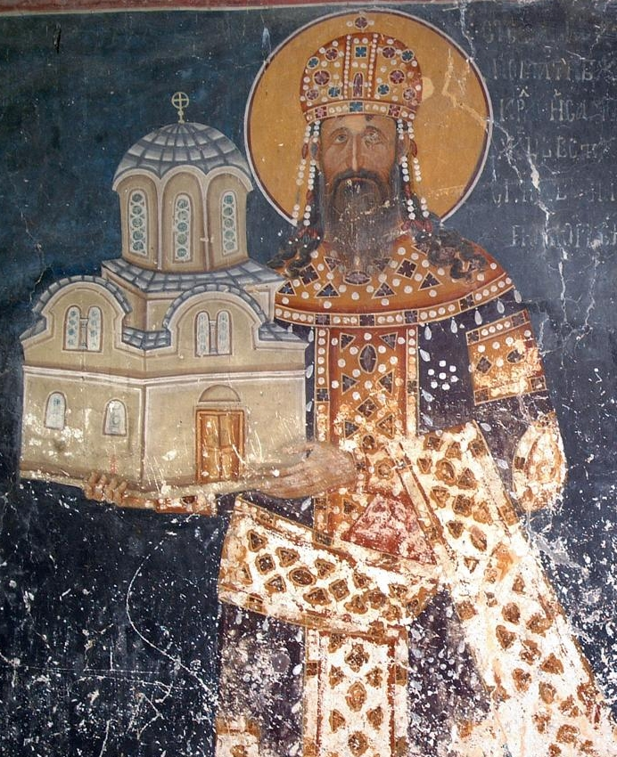 Kong Milutin, freske i Kongens kirke i klosteret Studenica, malt i hans levetid, ca 1314
