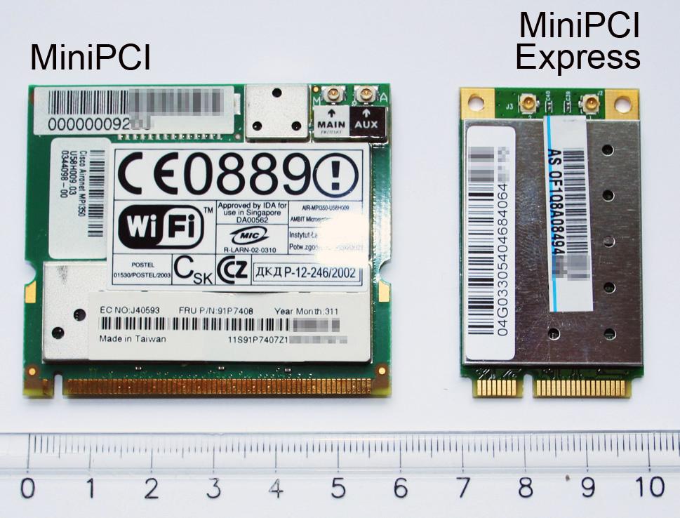 MiniPCI and MiniPCI Express cards in comparison