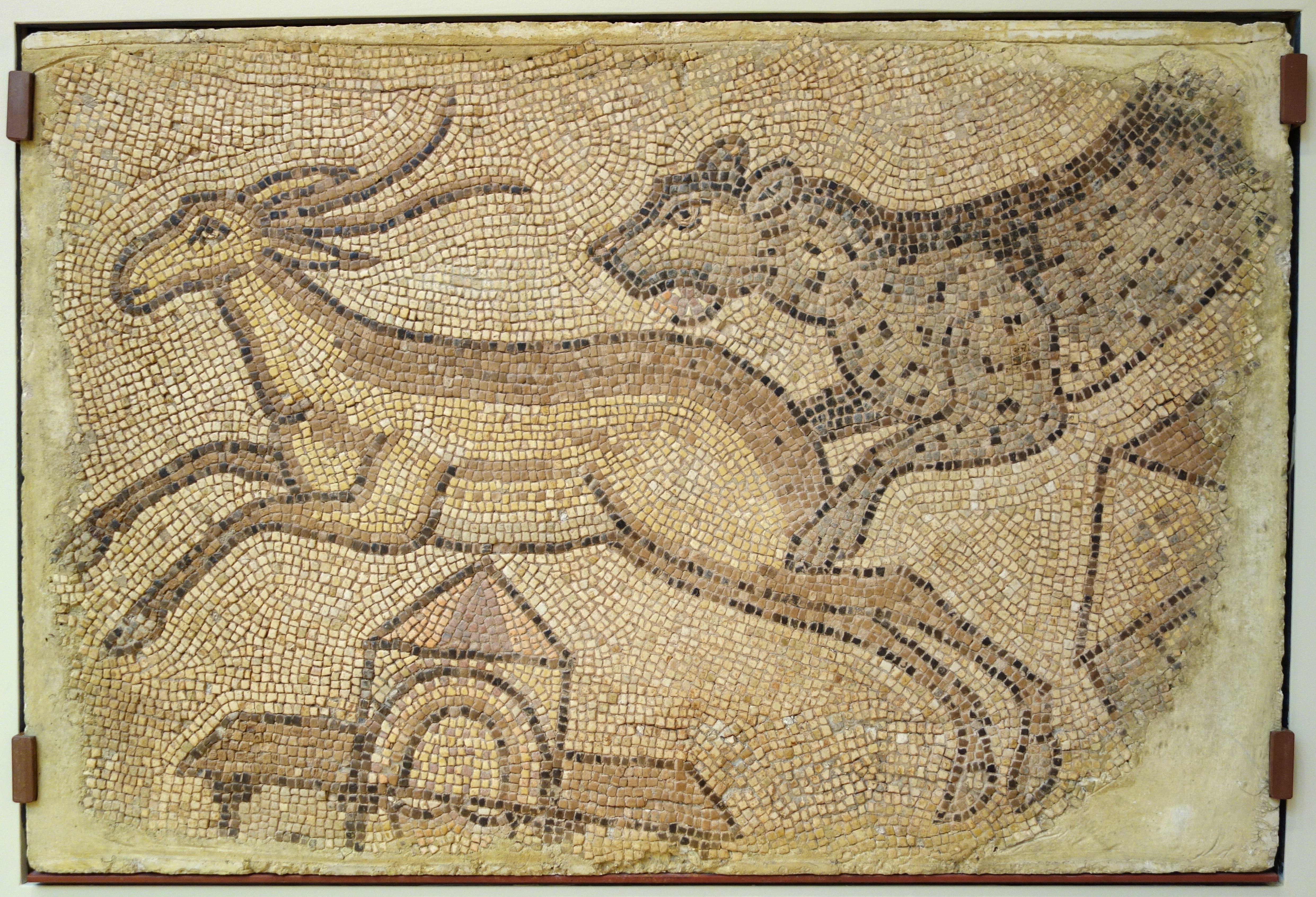 File Mosaic Of Leopard Chasing A Gazelle Roman Homs