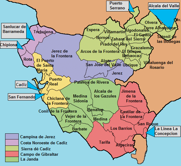 Mapa De Tarifa Cadiz.File Municipalities Of Cadiz Png Wikimedia Commons