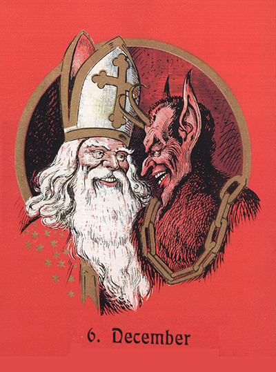 An image of Santa Claus and Krampus on an old Austrian postcard