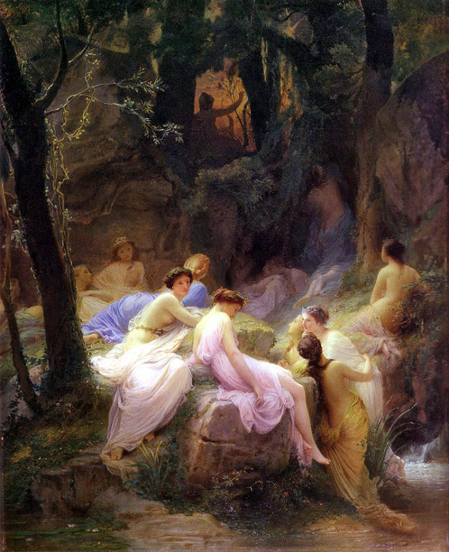 Nymphs listenning to the songs of Orpheus
