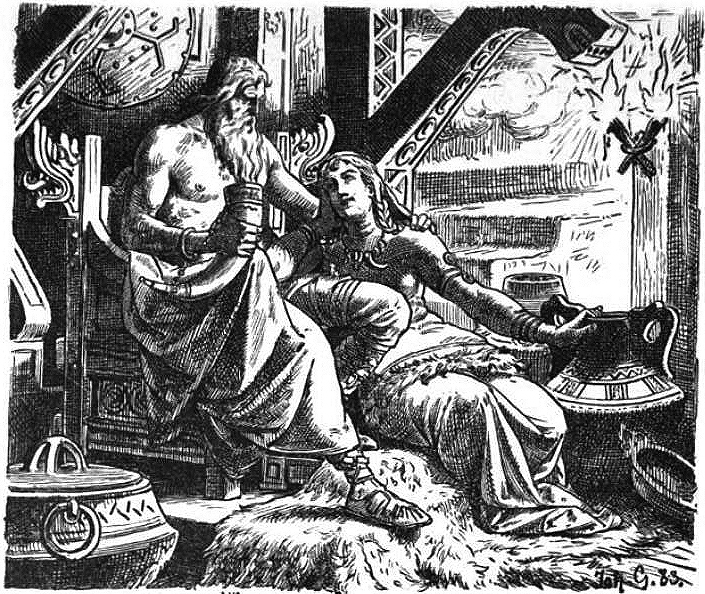 Odin with Gunnlöd by Johannes Gehrts