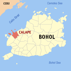 Map of Bohol showing the location of Calape