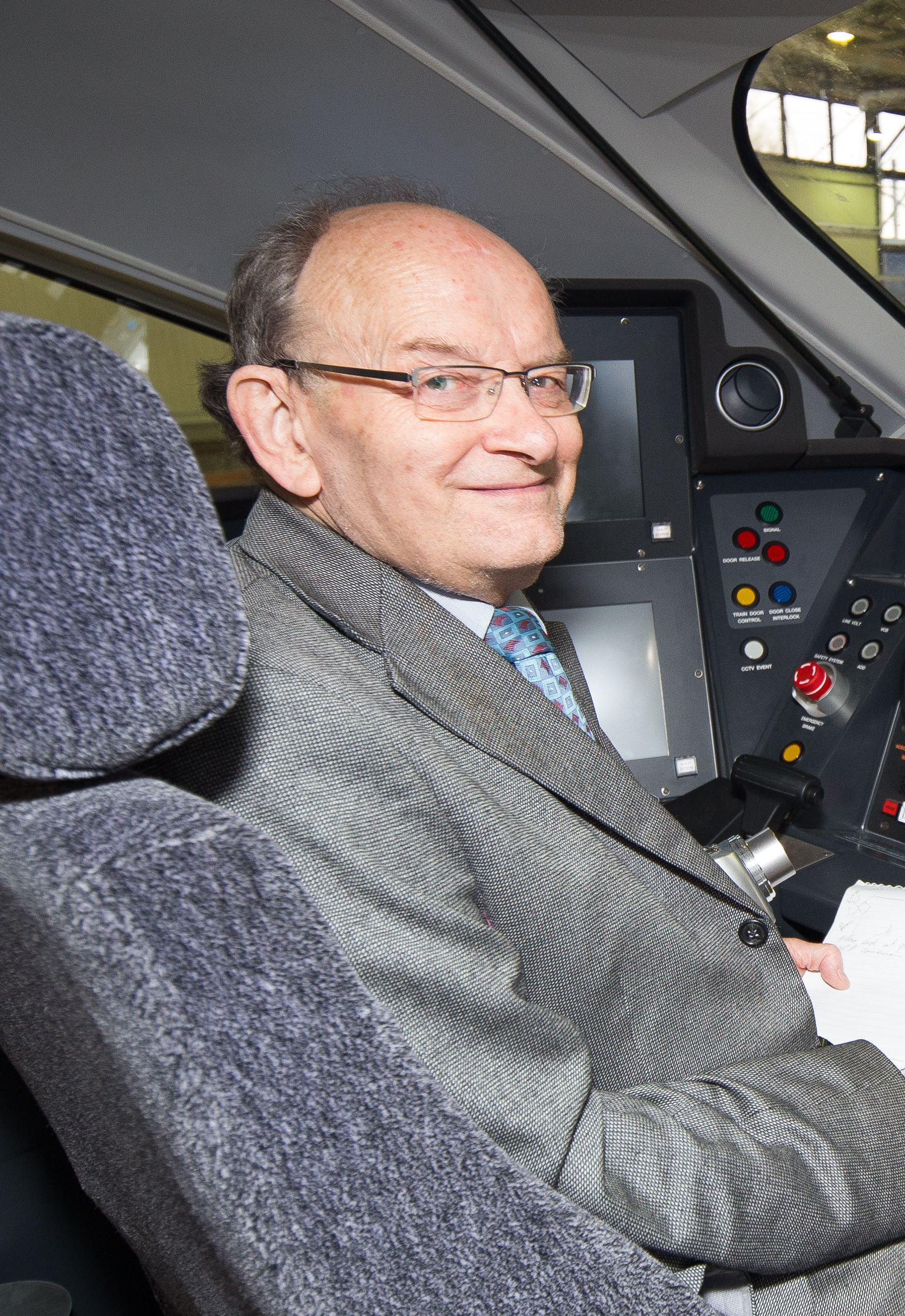 In the cab of [[British Rail Class 800|class 800002]] at North Pole Train Maintenance Centre, 2015