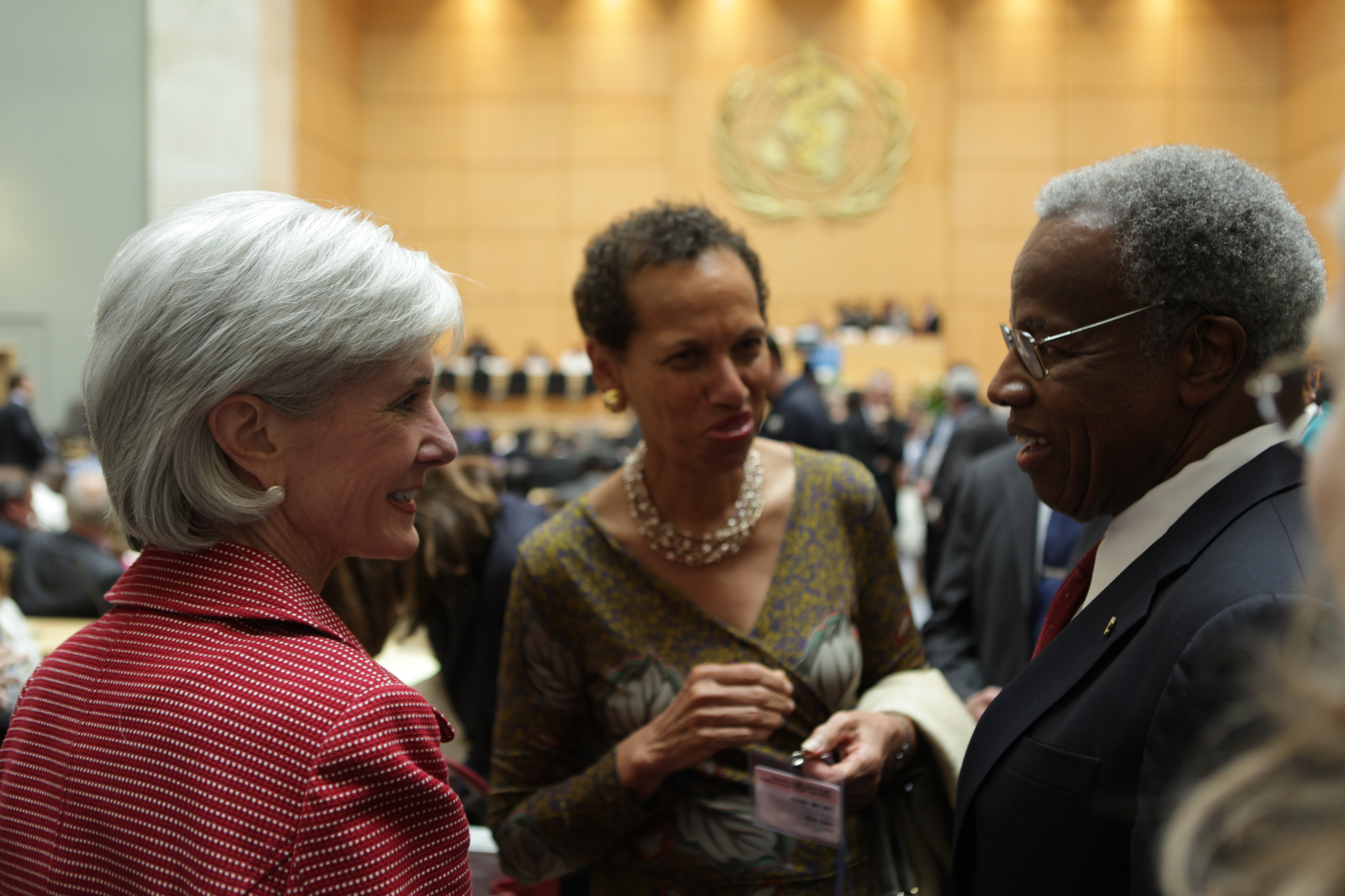 File:Secretary Sebelius, Ambassador Betty King with Delegates to the WHA.jpg