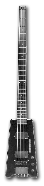 Early 1980s-era Steinberger headless bass. The tuning machines are at the heel of the instrument, where the bridge is usually located.