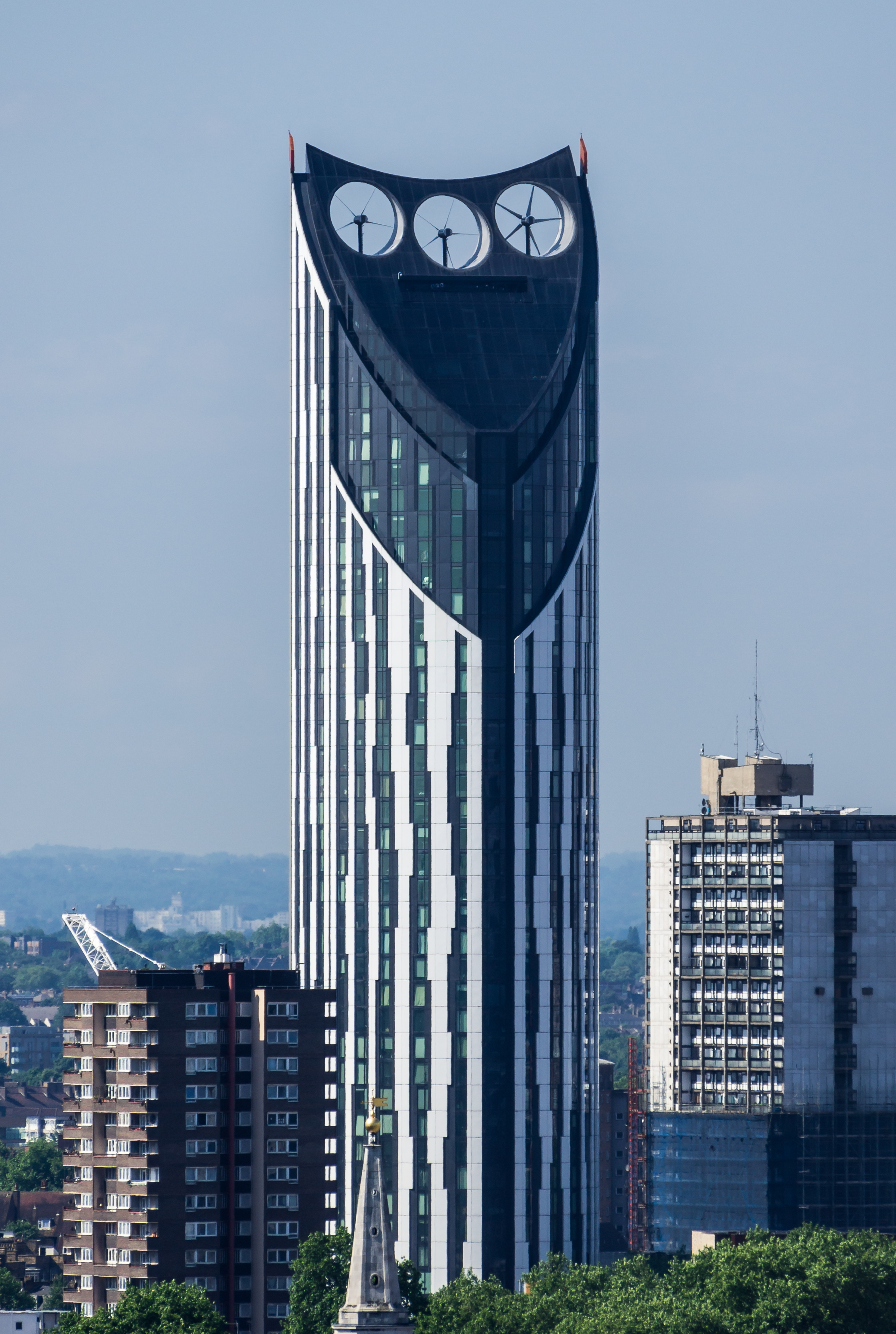 London Building With Three Fans On Top