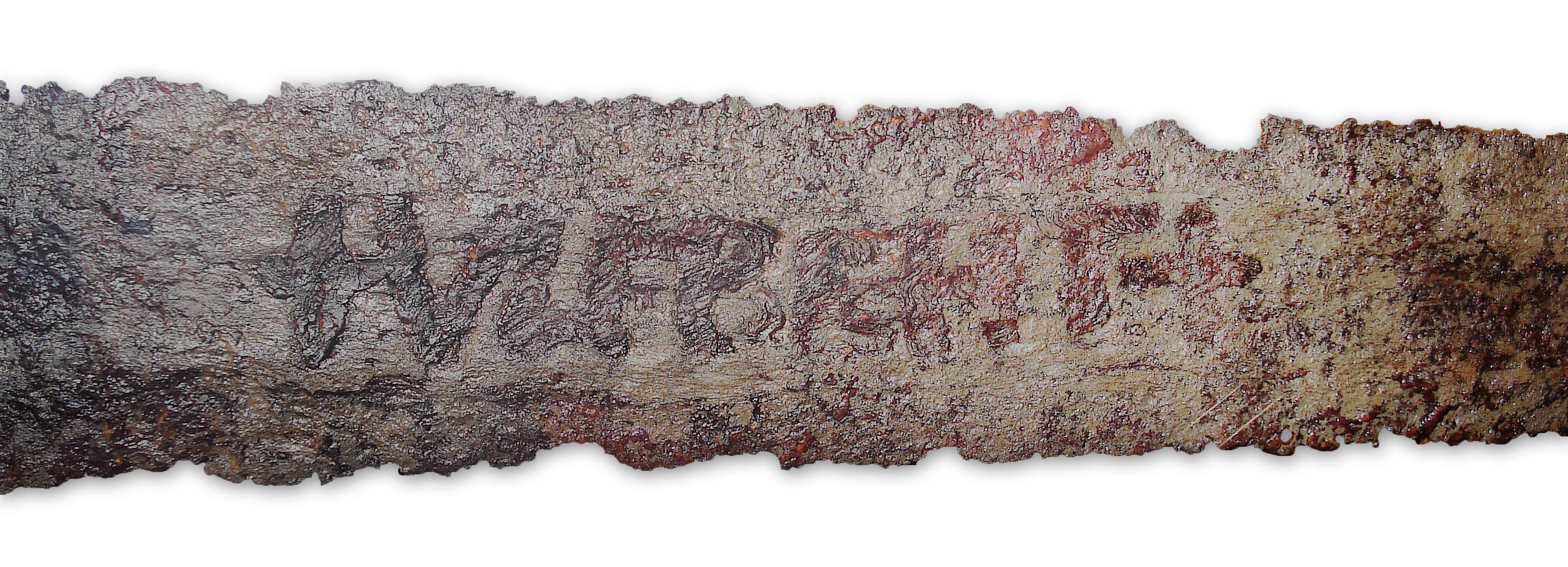 Spatha, sog. Ulfberht-Schwert, aus dem Rhein bei Mannheim, 1. Hälfte 9. Jh., Germanisches Nationalmuseum Nürnberg (FG 2187). Quelle: de.wikipedia.org, User: Martin Kraft.