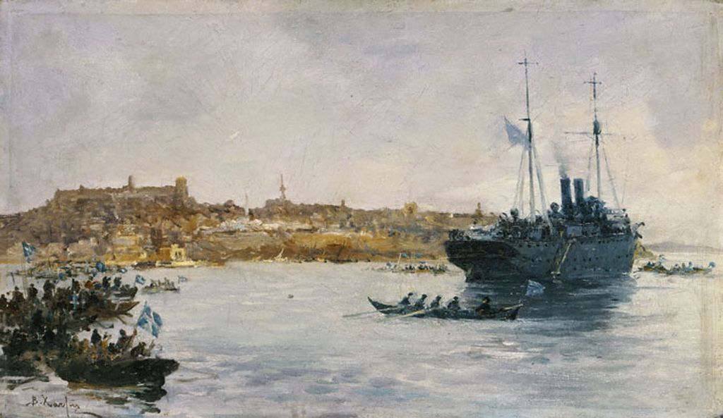 Landing of Greek troops in Kavala
