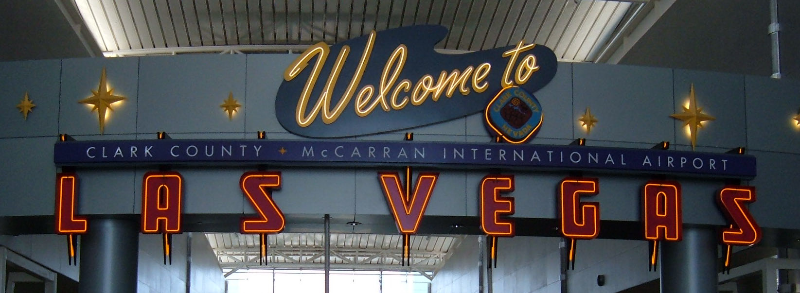 Welcome to McCarran airport sign at Concourse D
