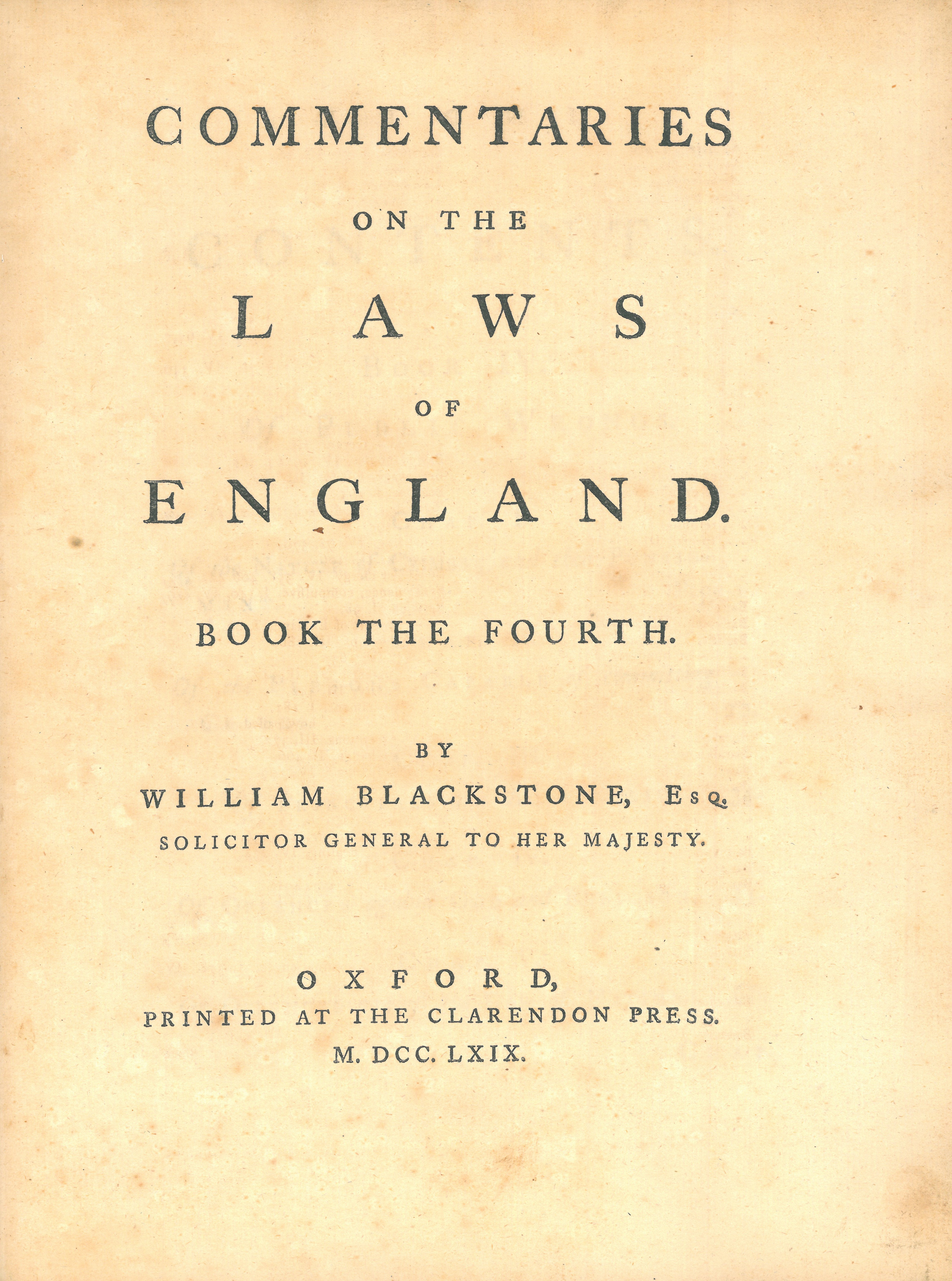 Commentaries On The Times: File:William Blackstone, Commentaries On The Laws Of