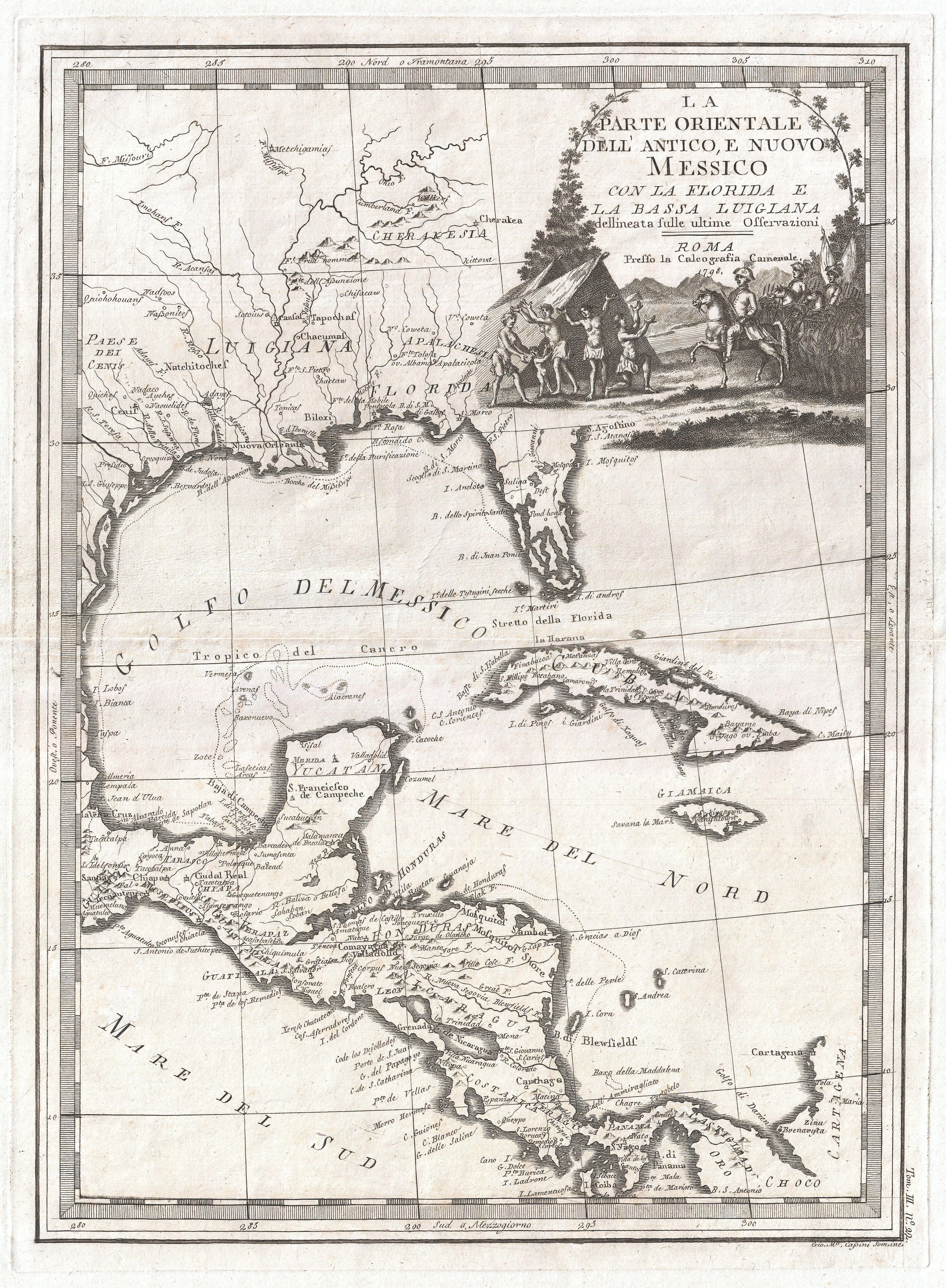 Florida To Cuba Map.File 1798 Cassini Map Of Florida Louisiana Cuba And Central