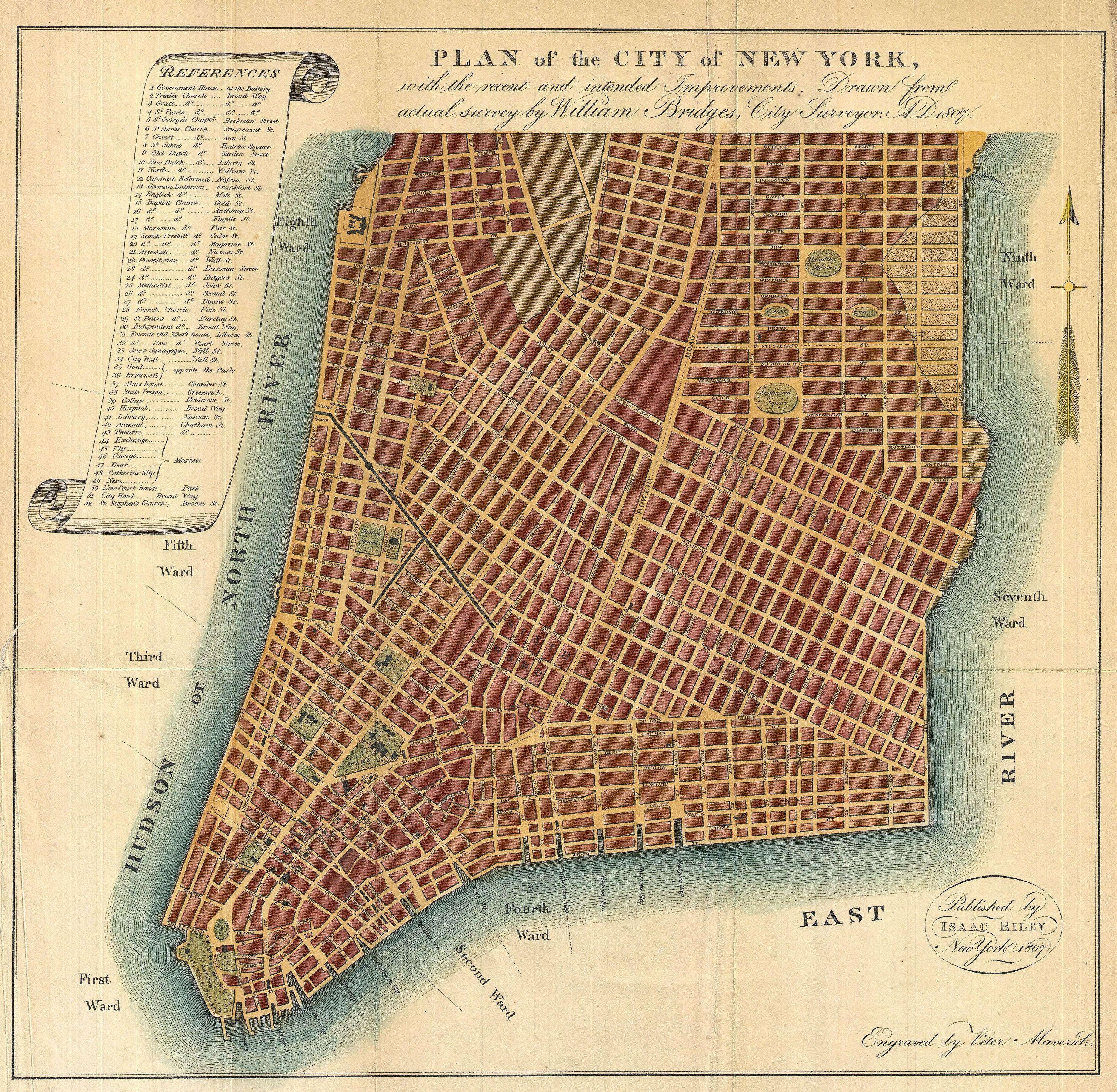 File 1807 bridges map of new york city 1871 reissue geographicus
