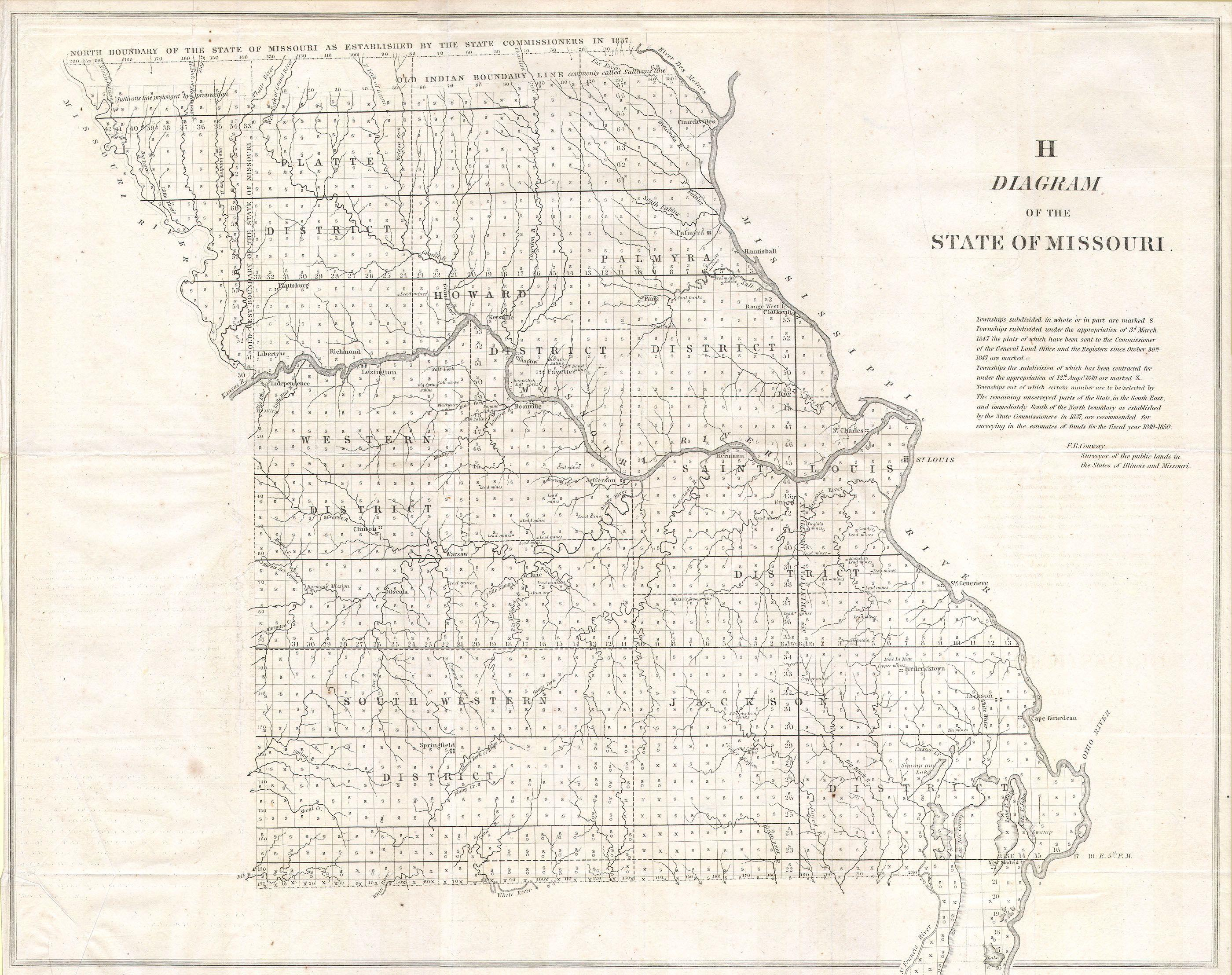 File1850 Land Survey Map of Missouri Geographicus MOls1850