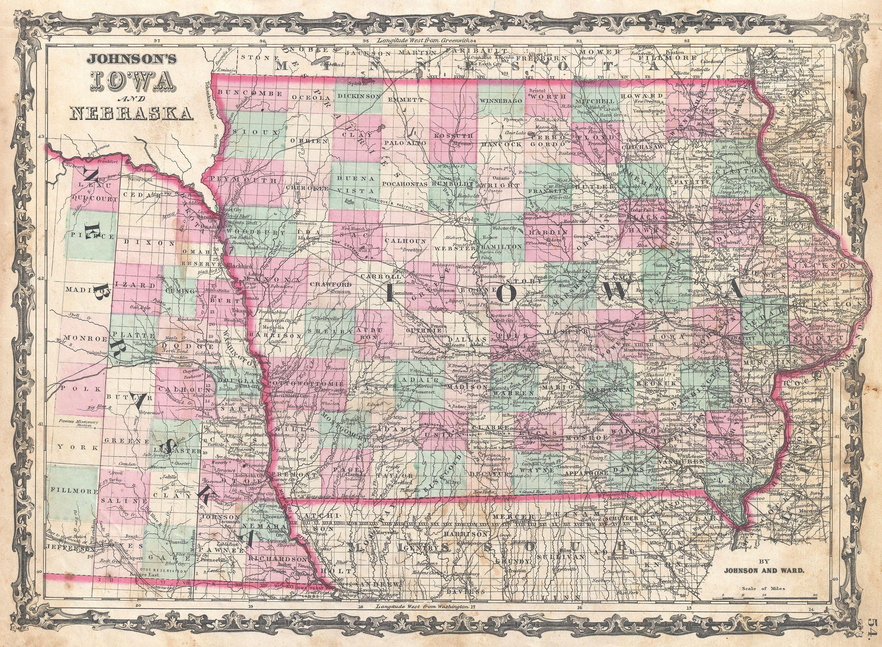File Johnson Map Of Iowa And Nebraska Geographicus IANE - Nebr map