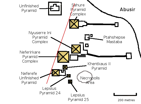 Map of the necropolis of Abusir. The unfinished pyramid is attributed to Shepseskare. The red line points to Heliopolis. Abusir map 2.png