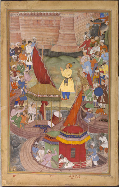 The Mughal Emperor Akbar the Great celebrates a naval victory in Bengal in 1576. The Bengali calendar was developed based on the dates of the Prophet Muhammad's Hegira and the coronation of Akbar.[42]
