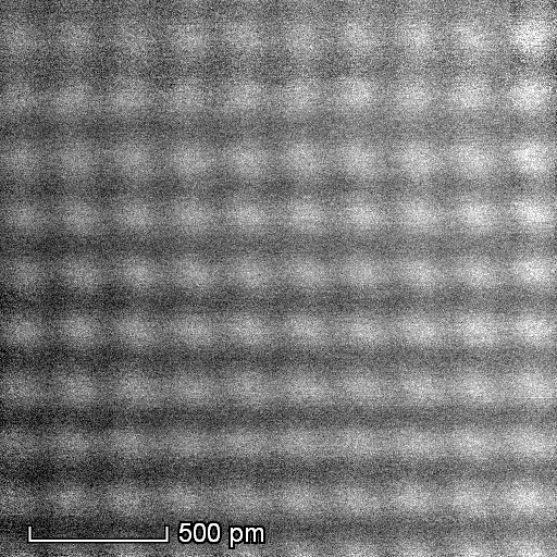 High-resolution STEM-HAADF micrograph of Al atoms viewed along the [001] zone axis. Aluminium Atomic lattice.png