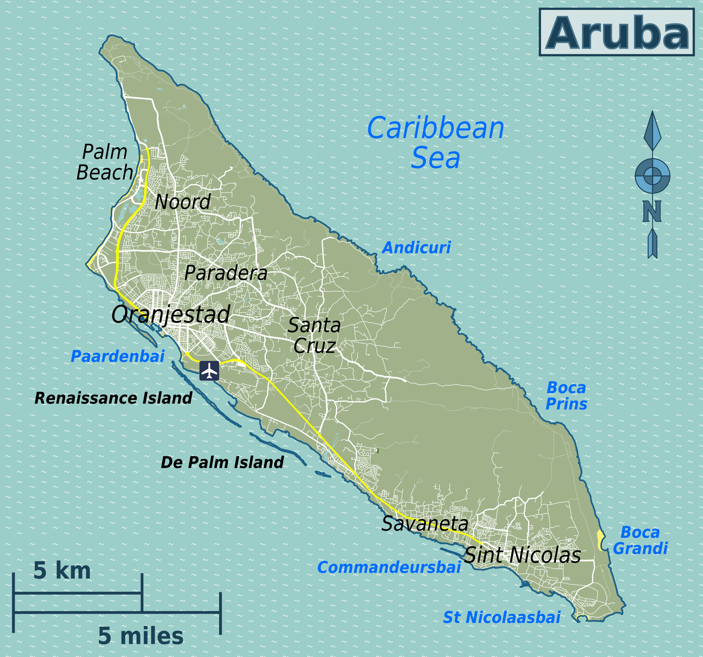 Aruba Map – Aruba Tourist Attractions Map