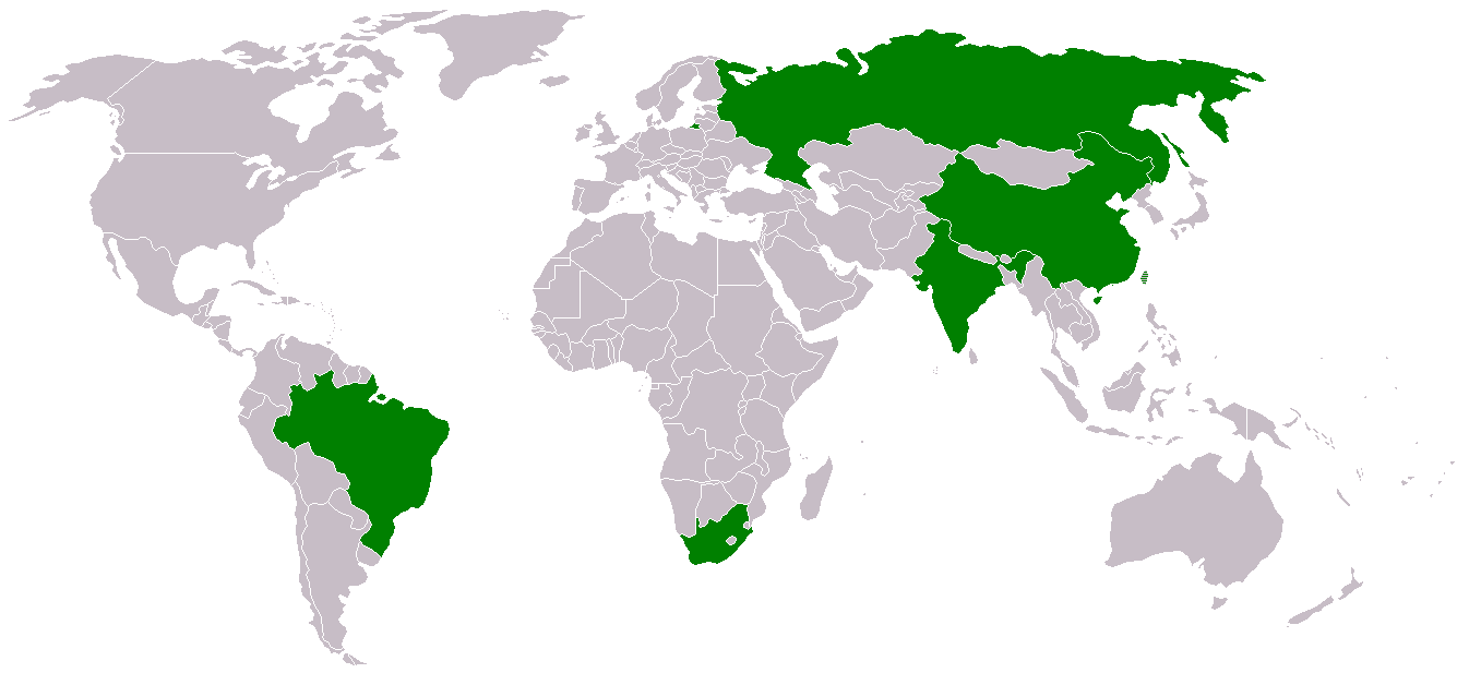 Map of the BRICS nations