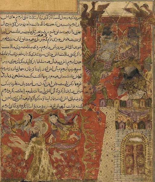 File:Balami - Tarikhnama - Namrud casts Abraham into the fire and flies  heavenwards to challenge God (cropped).jpg - Wikimedia Commons