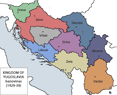 Since 1929 and the 6 January Dictatorship, Yugoslavia was subdivided into nine provinces called banovinas, aimed at bringing ethnic communities into one Yugoslav nation. Banovine Jugoslavia.png