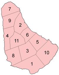 Barbados parishes numbered