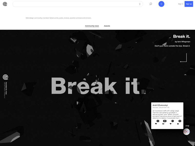 File:Break it. website by Kirk Whayman is a Favorite Fox on Cssfox community of web designers.jpg Description English: Break it. website by Kirk Whayman is a Favorite Fox on Cssfox community of web designers