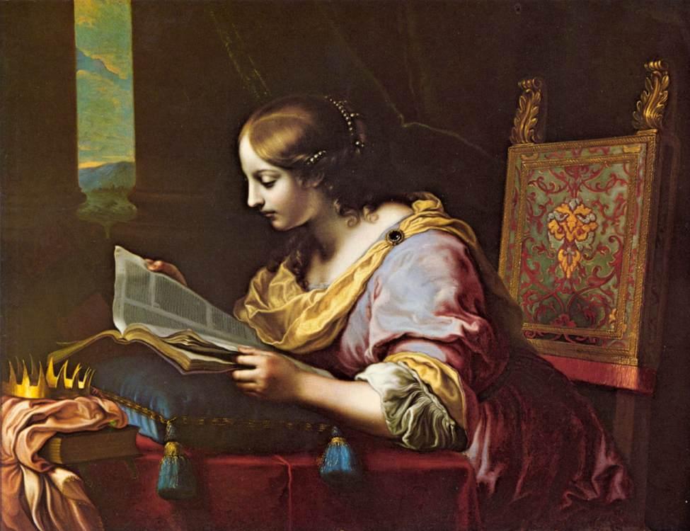 Карло Дольчи - Святая Екатерина читает книгу - WGA06372.jpg